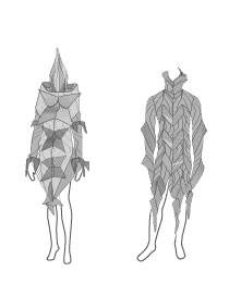 """Clear, Loud Bright, Forward"" d'après les costumes d'Issey Miyake dessin by dubphil"
