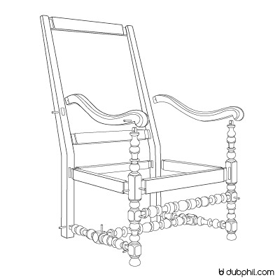 Assemblage structure, fauteuil Louis XIII