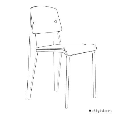 Epoque Morderne, La chaise métropole N°305 de Jean Prouvé