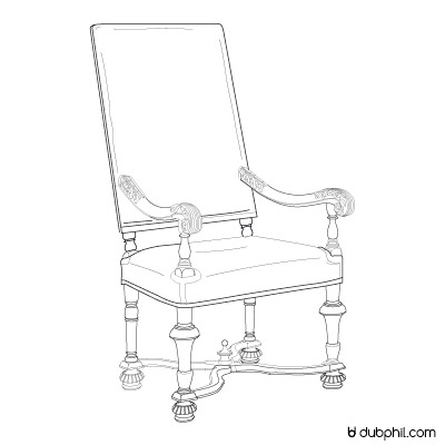Louis XIII, le fauteuil bois tourné