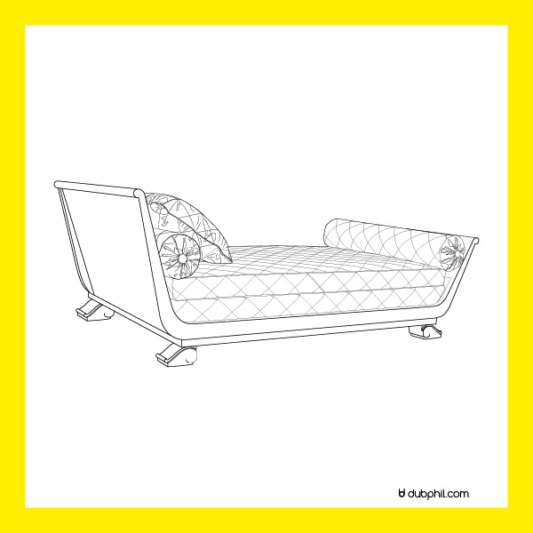 Art Déco, lit en bois laqué par André Arbus