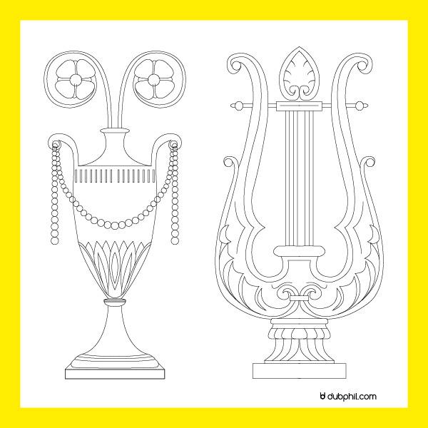 Directoire, ornement lire et vase antique