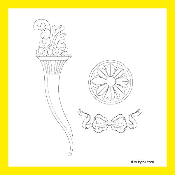 Louis XVI Marie Antoinette, corne d'abondance, fleur et nœud