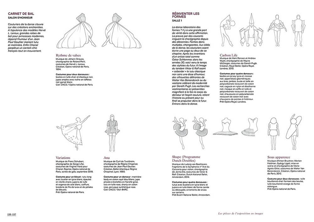 """Extrait du catalogue """"Couturiers de la Danse"""" page 136 et 137"""