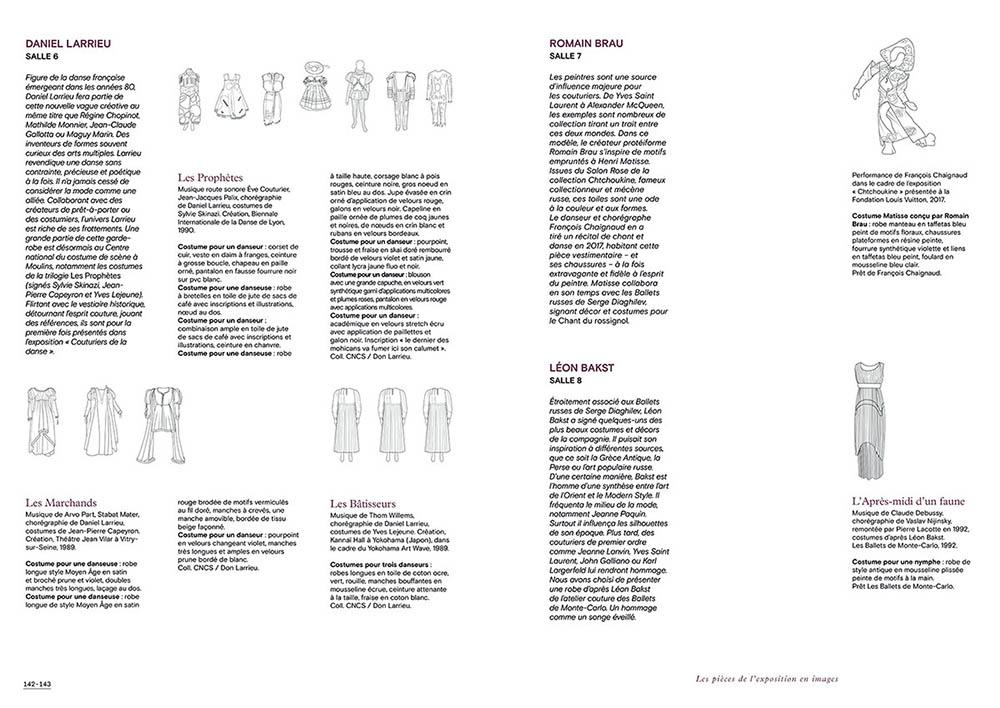 """Extrait du catalogue """"Couturiers de la Danse"""" page 142 et 143"""