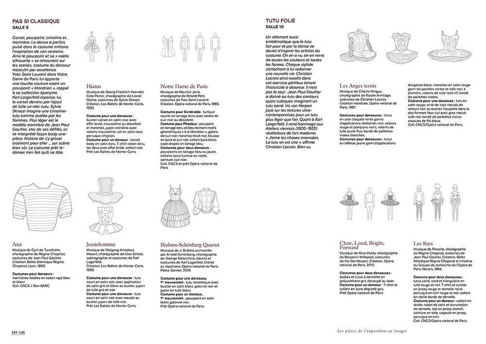 """Extrait du catalogue """"Couturiers de la Danse"""" page 144 et 145"""
