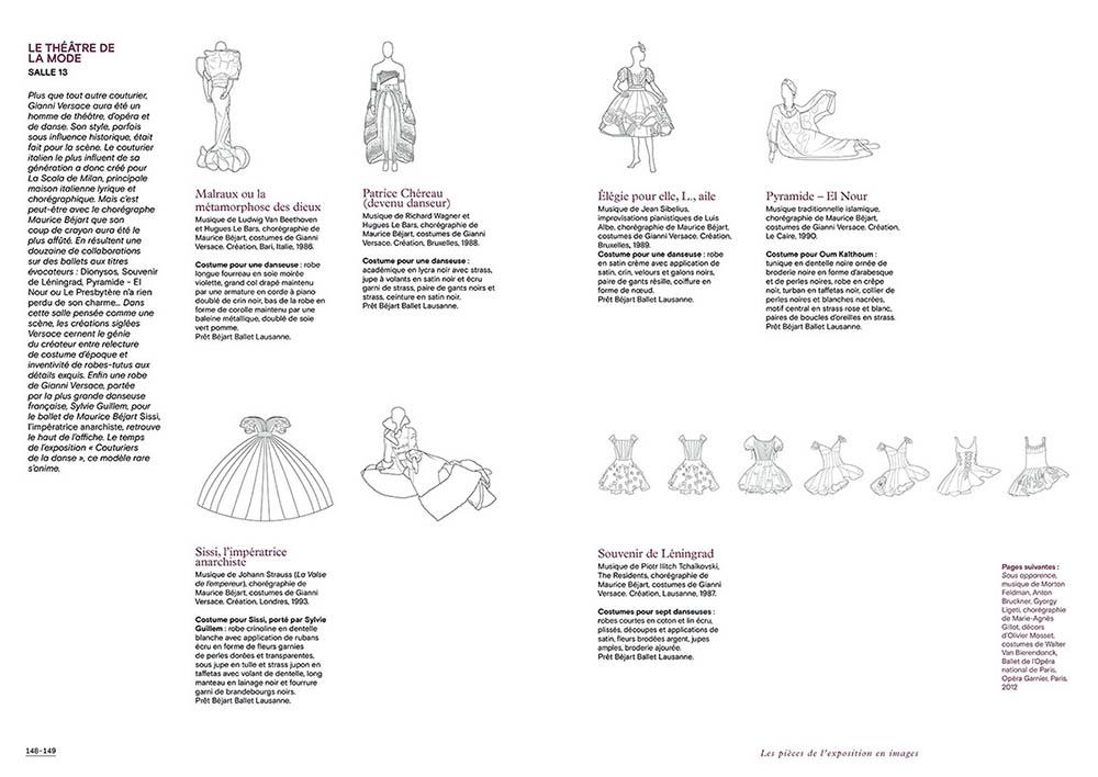 """Extrait du catalogue """"Couturiers de la Danse"""" page 148 et 149"""